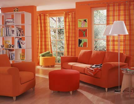 Decoraci n salas color naranja ideas para decorar for Decoracion para pared naranja