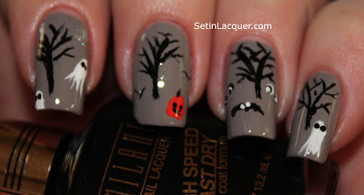 Halloween nail art - Ghosts, pumpkins and trees
