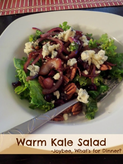 Warm Kale Salad:  A salad made of red onions sauteed in oil and balsamic vinegar mixed with kale and topped with blue cheese, toasted pecans, and dried cranberries.