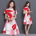 Red Pink Big Petals Print Flare Dress