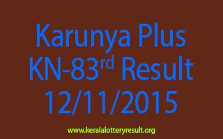 Karunya Plus KN 83 Lottery Result 12-11-2015