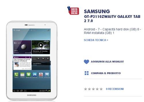 Il tablet da 7 pollici di samsung viene venduto a 139 euro nel sottocosto online di Trony