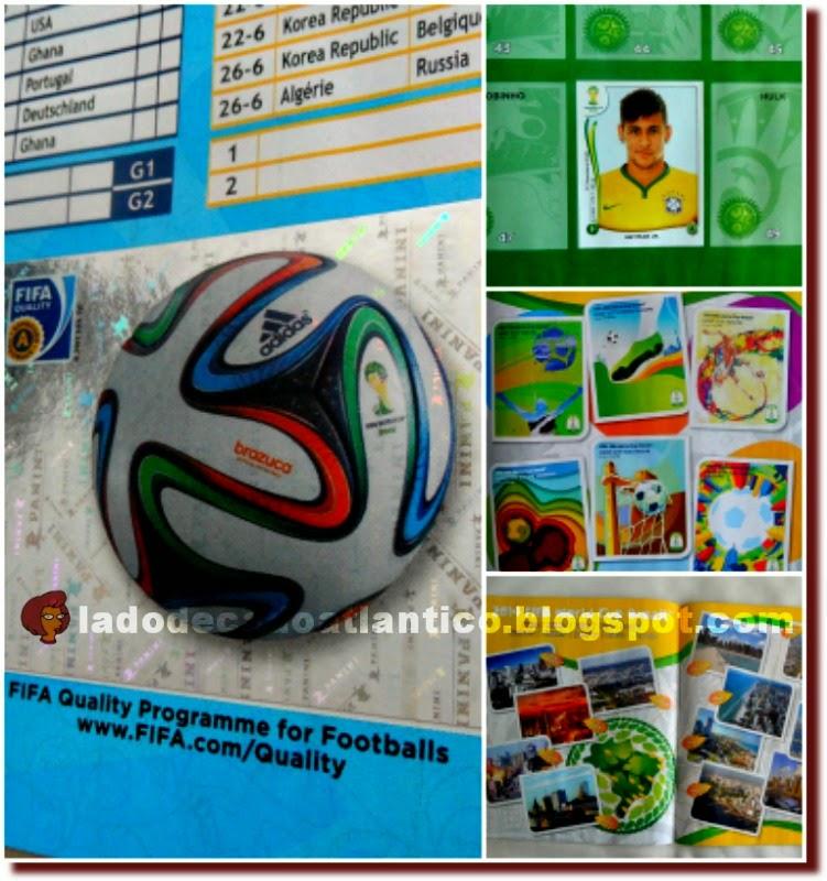 Imagens do mosaico de imagens do álbum de figurinhas (caderneta de cromos) lançado mundialmente contendo as figuras da Brazuca, Neymar e dos estádios brasileiros