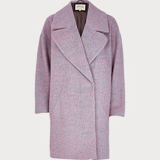 pink blue blend wool coat