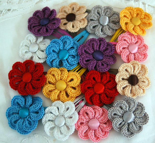 Flores De Ganchillo Para El Pelo Hair Pin Crochet Flowers Estas Flores
