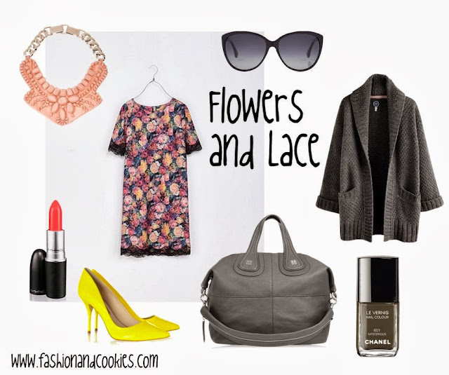 flowers and lace dress, neon yellow pumps, Givenchy Nightingale, Fashion and Cookies, fashion blogger