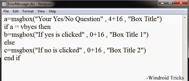 Create Yes/No Error Message With Different Answer