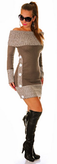 sexy sweater dress with a cowl neck