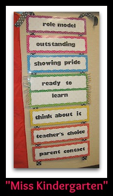 photo of: Miss Kindergarten's Behavior Chart (Behavior Chart RoundUP via RainbowsWithinReach)
