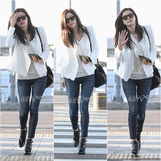 Lucky Lacy Lady Korean Celebrities Airport Fashion Style Chun Ji Hyun Actress