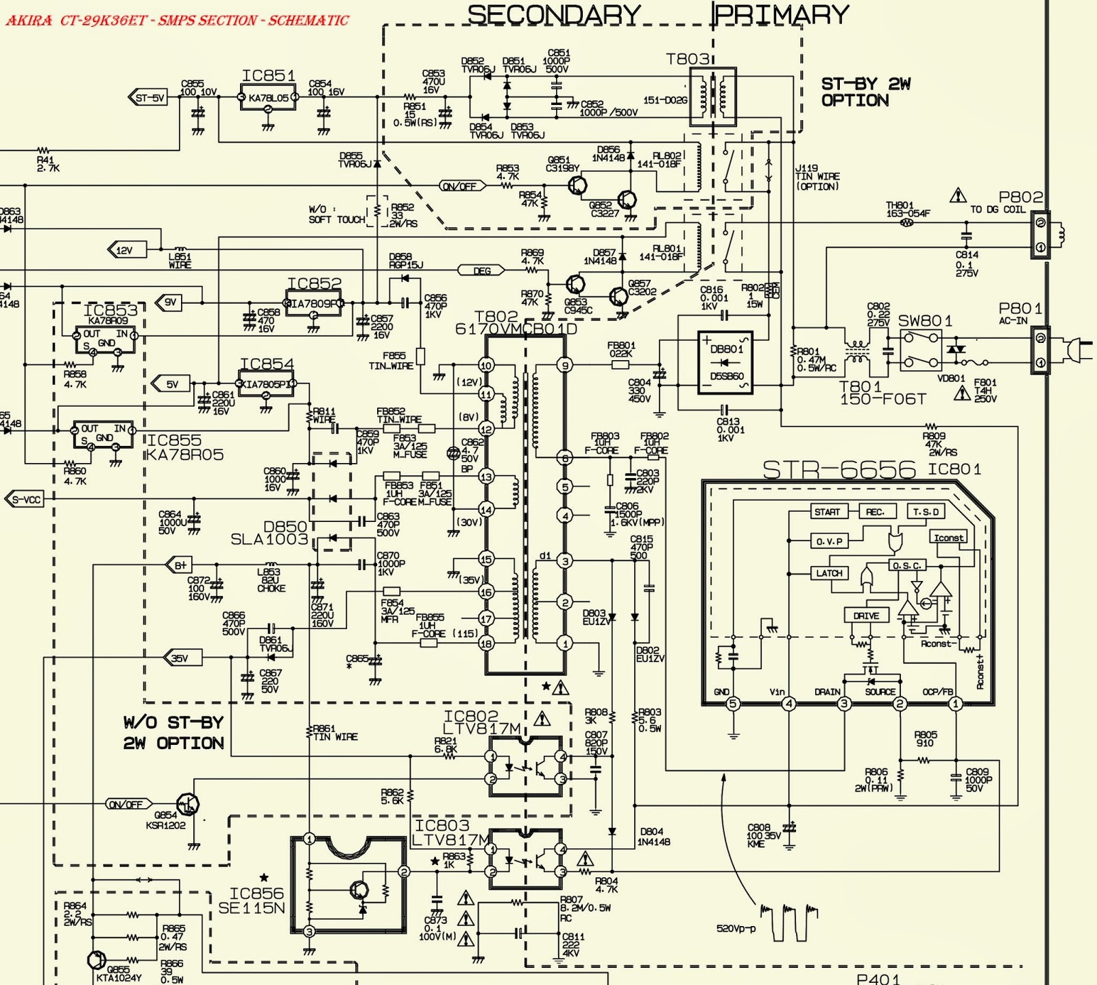 lg \u0026 akira ct 29k36et smps (power supply) audio outputsmps schematic click on the schematics