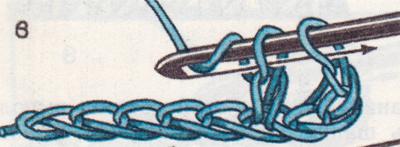 Столбик без накида, провязанный в два приема.