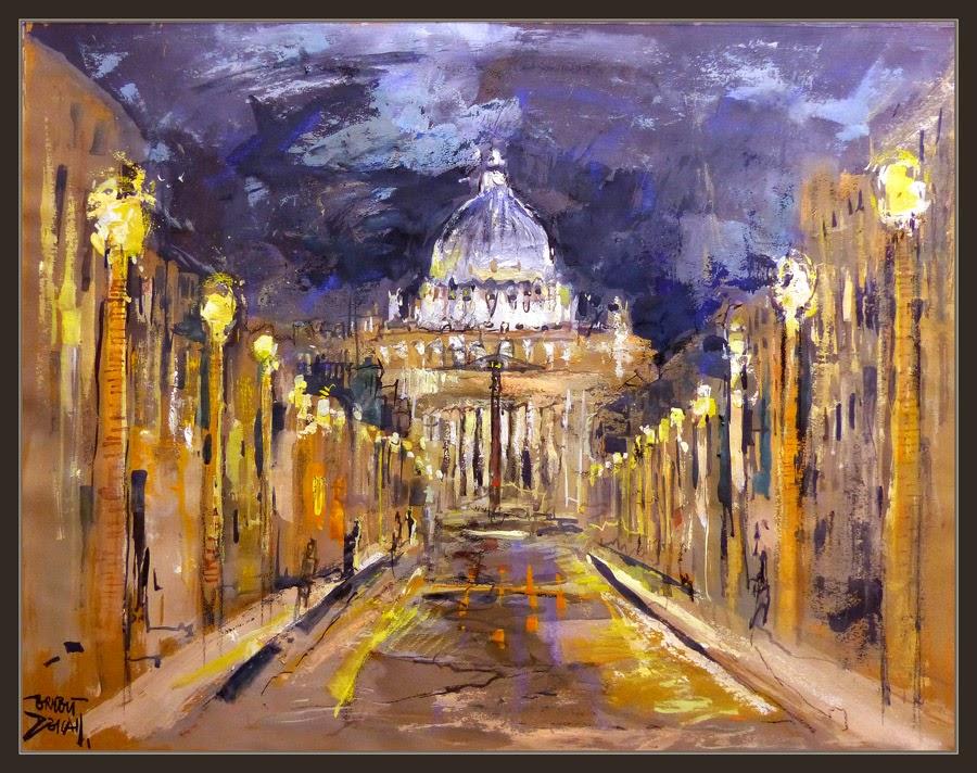 ROMA-VATICANO-PINTURA-ARTE-ITALIA-NOCHE-PAISAJES-NOCTURNOS-ARTISTA-PINTOR-ERNEST DESCALS-