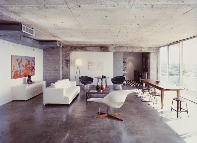 Rauer Beton plus Designklassiker - modernes Design in Minimalismus