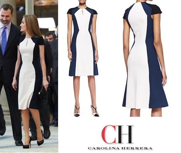 Queen Letizia in Carolina Herrera Short-Sleeve Colorblock Stretch Viscose Dress