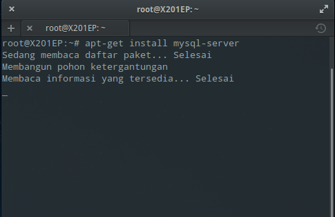 Instal MySQL dan phpMyAdmin : Instal MySQL