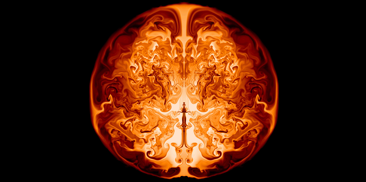 """This image is a slice through the interior of a supermassive star of 55,500 solar masses along the axis of symmetry. It shows the inner helium core in which nuclear burning is converting helium to oxygen, powering various fluid instabilities (swirling lines). This """"snapshot"""" from a CASTRO simulation shows one moment a day after the onset of the explosion, when the radius of the outer circle would be slightly larger than that of the orbit of the Earth around the sun. Visualizations were done in VisIT. (Image Credit: Ken Chen, UCSC)"""