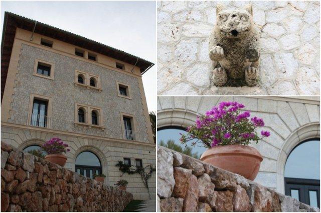 Vista lateral del Palacete Maricel y maceta en el Hospes Maricel en Mallorca