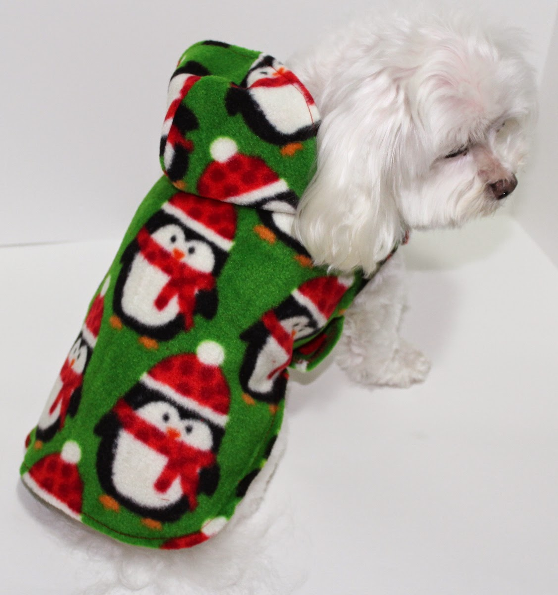 adorable cute dog hoodie with penguin print on green fleece