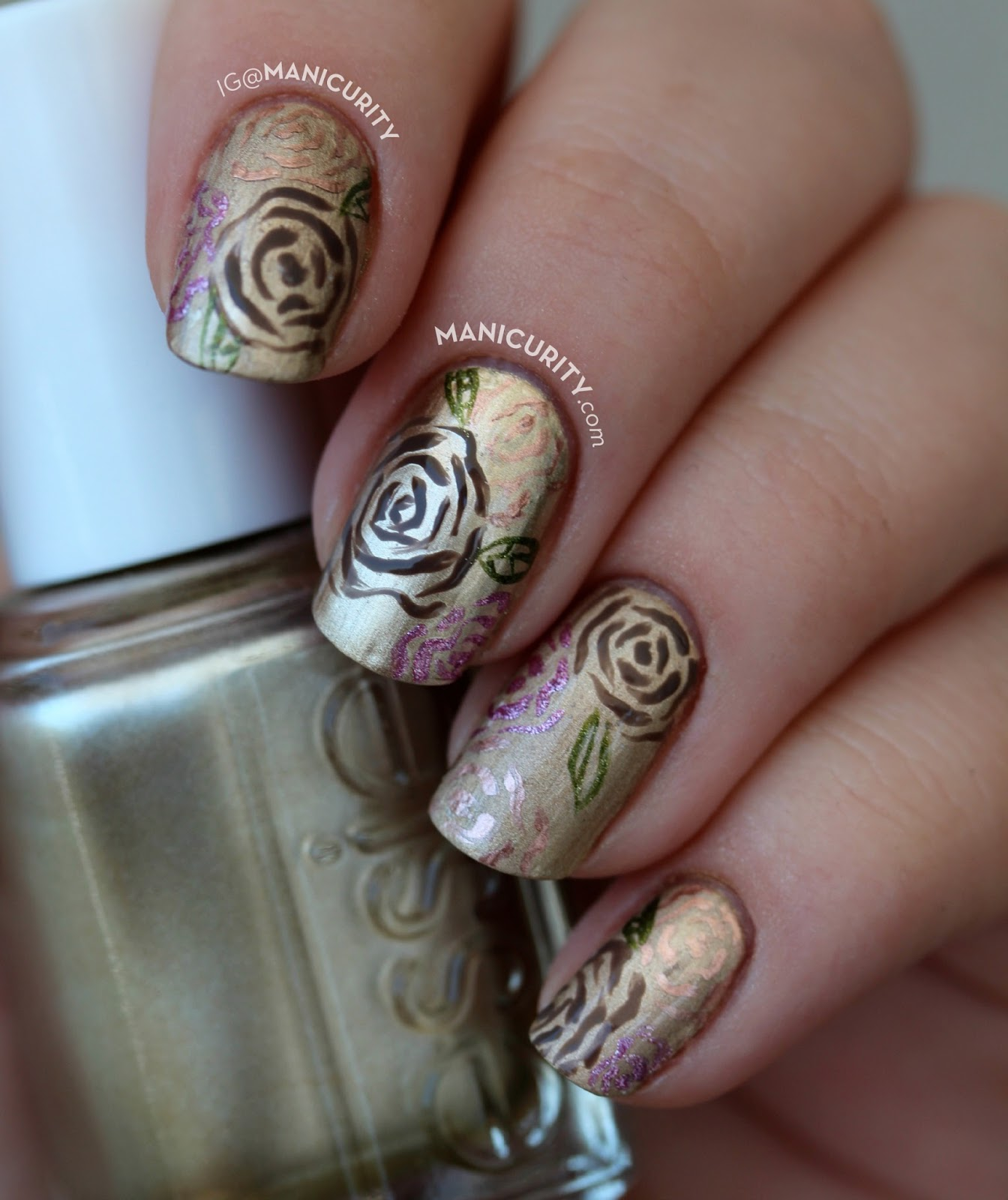 Starting The Week Off With Some Black Hills Gold Jewelry Inspired Nails Using Fl And Leaf Motif To Do A Freehand Rose Roses Manicure