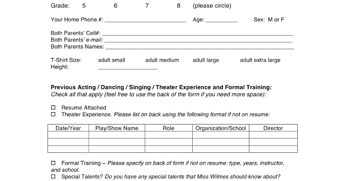Wyoming Middle School Theater Spring Musical Audition Form