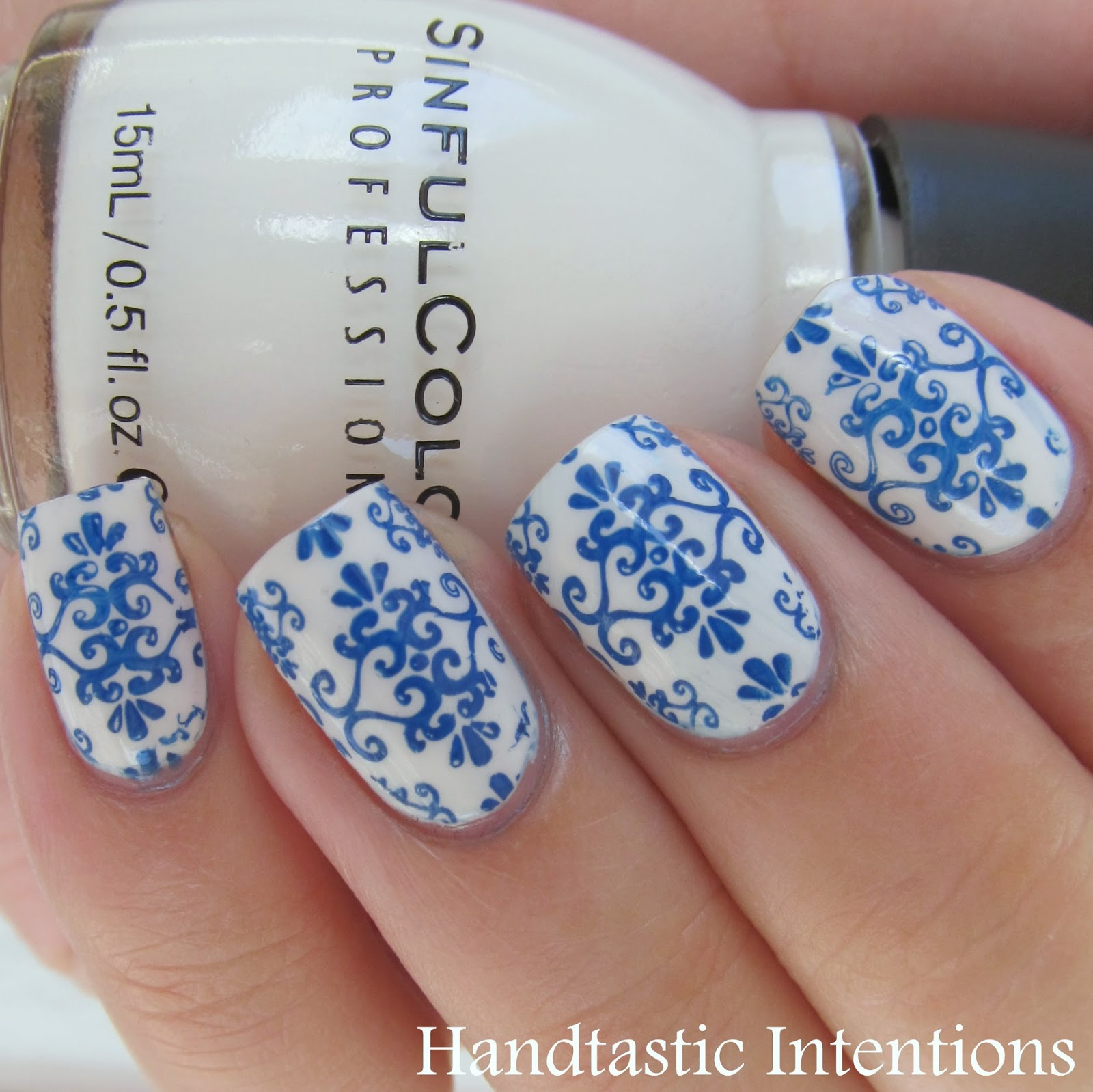 Handtastic Intentions Nail Art Blue And White Ceramics Inspired