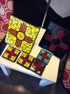 Zia symbol coasters from Stilo Lifestyle Accessories in Albuquerque's Nob Hill