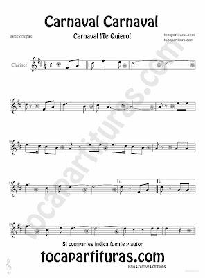 Tubepartitura Carnaval Carnaval partitura para Clarinete canción popular de carnaval