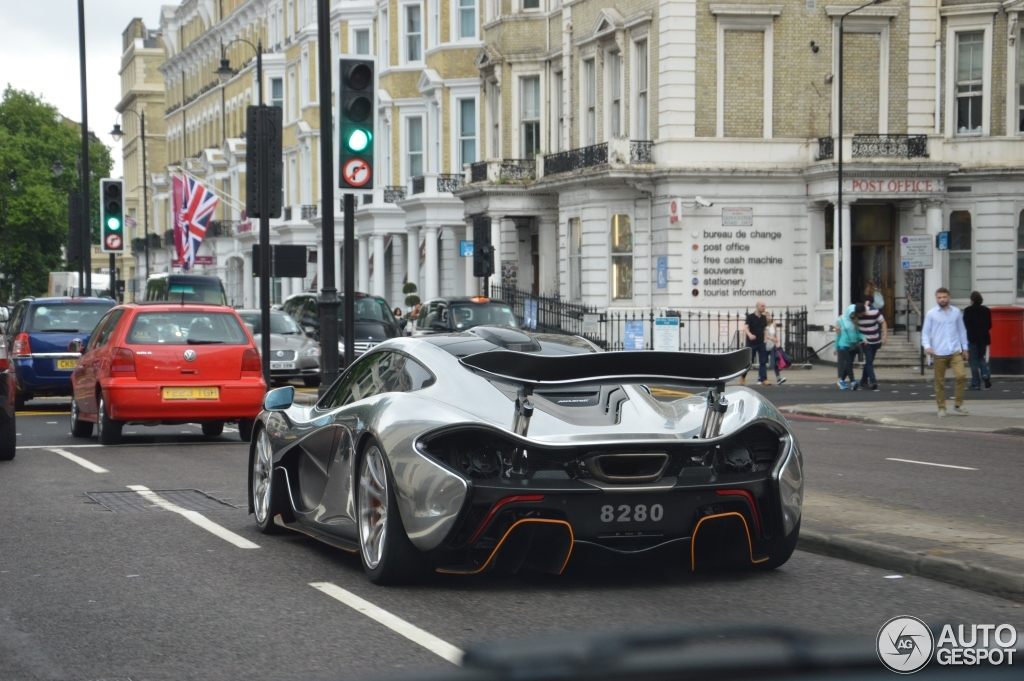 silver chrome mclaren p1 spotted in london