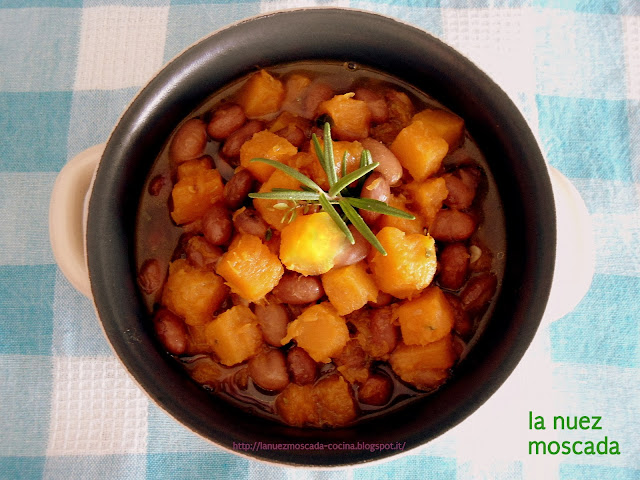zuppa di fagioli borlotti e zucca - sopa de calabaza y judías