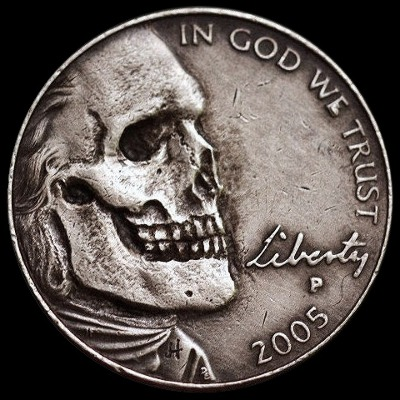 Skull hobo nickel, 2005, In God We Trust