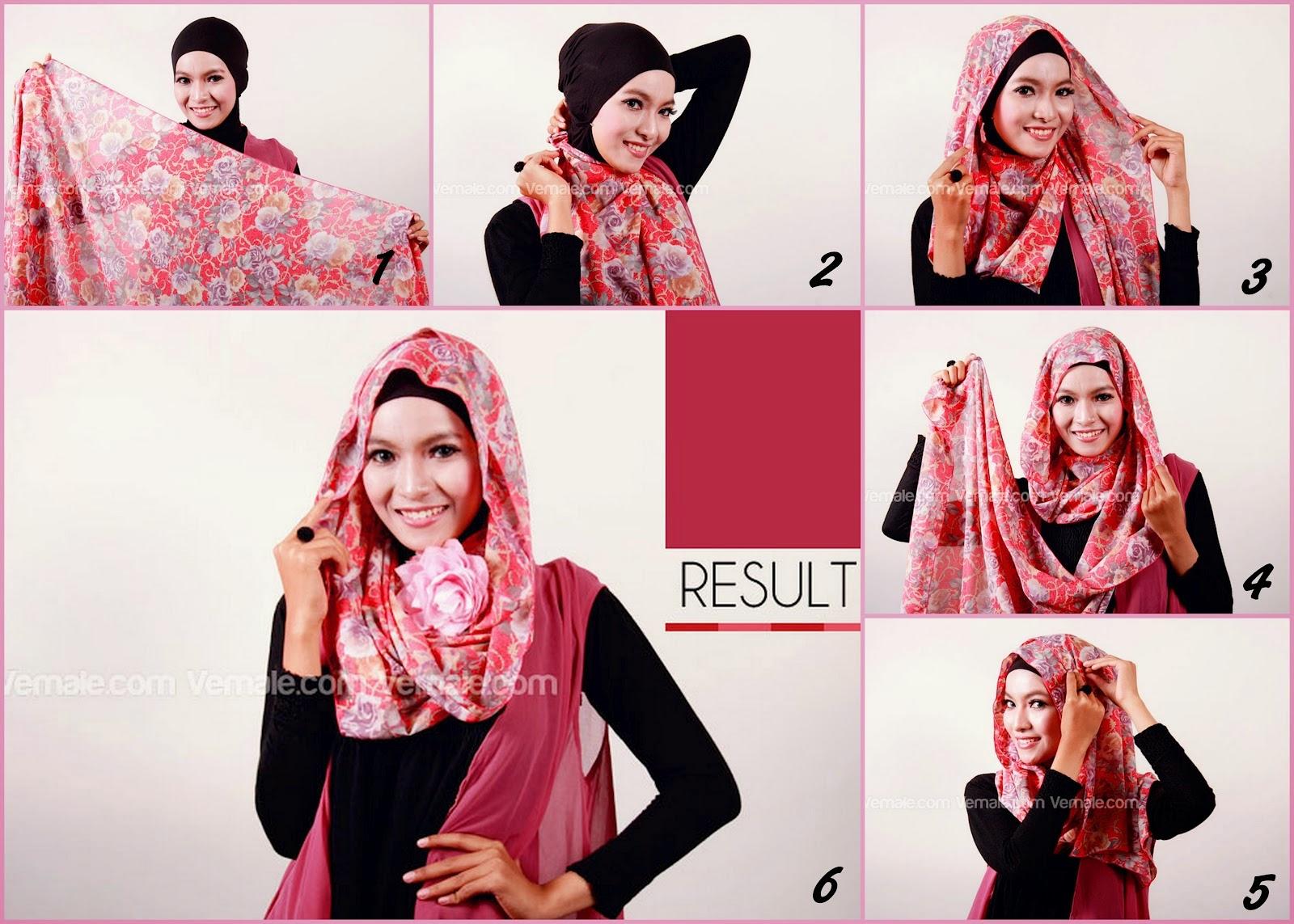 Cara Pakai Hijab Pashmina Sifon Untuk Wajah Bulat