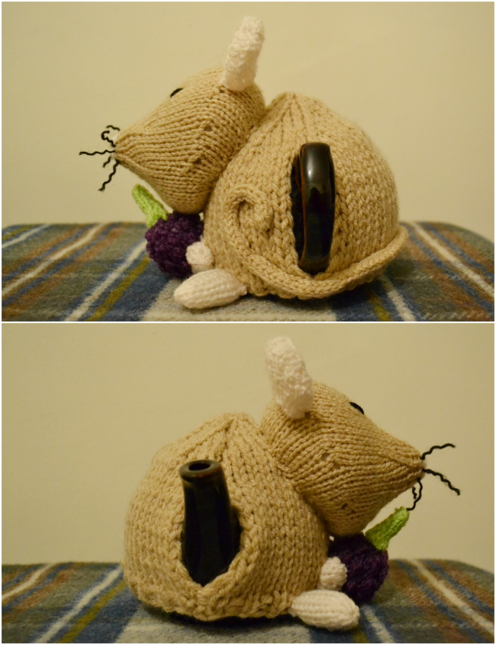 tea cosy folk dormouse pattern side views