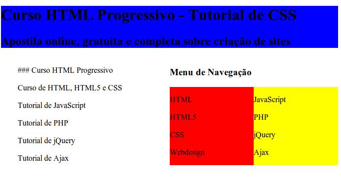 Curso de CSS online grátis com certificado, apostila de HTML para download, Tutorial de HTML5