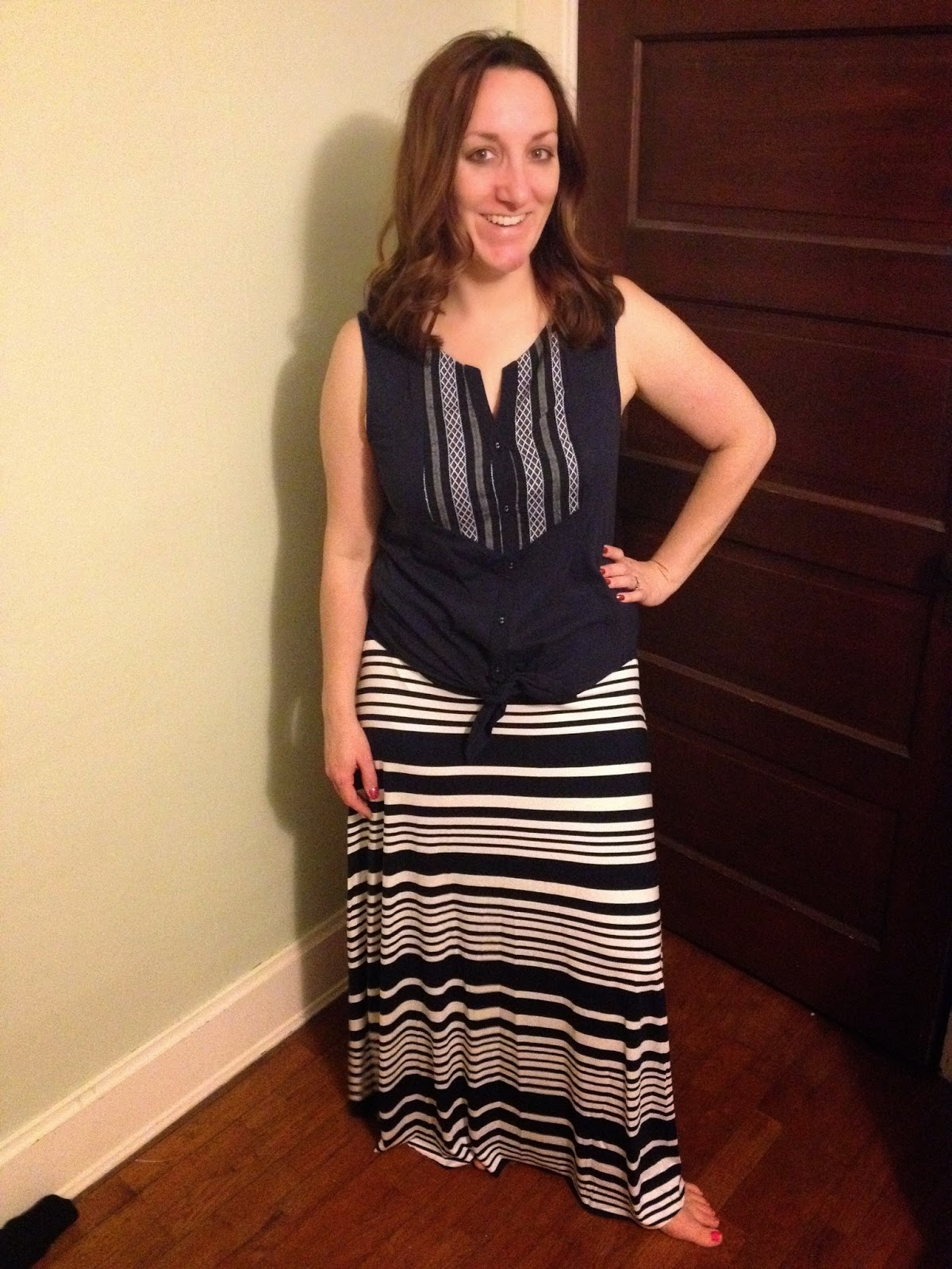 Skies are Blue Manna Tie Front knit Top $48, Renee C Marilyn Mix Striped Maxi Skirt $58