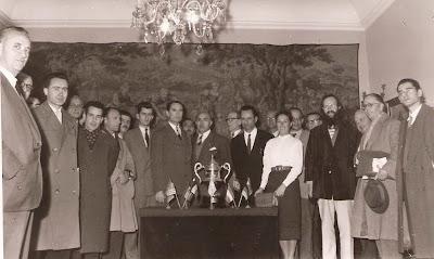 Jugadores y organizadores del Torneo Internacional de Ajedrez Tarragona 1957