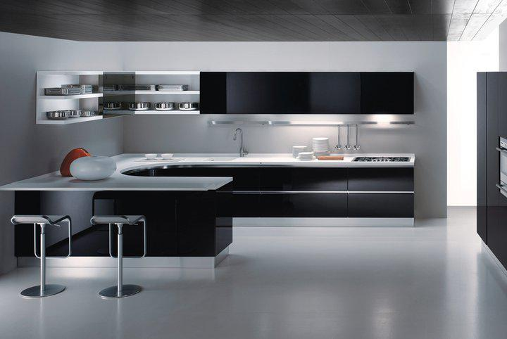 Modern kitchen interior designs modern kitchen design for Black kitchen cabinet design ideas