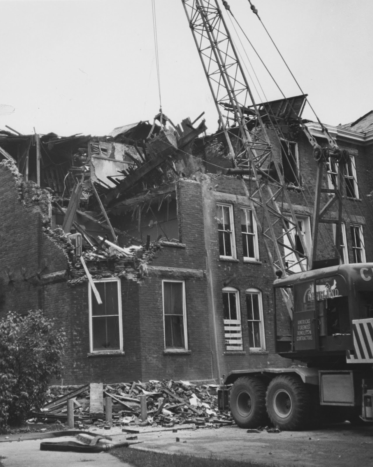 Neville Hall Being Razed After January Of 1961 Fire