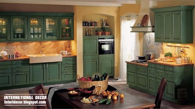 Country Style Kitchens, Green Cabinets, Green Kitchen Dining Sets