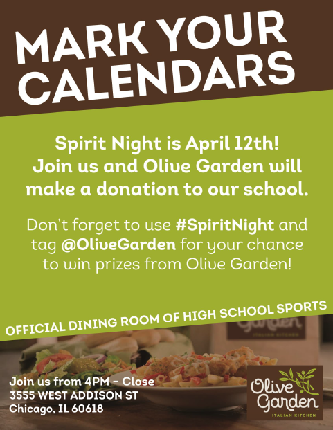 lane tech spirit night at olive garden - Olive Garden Addison