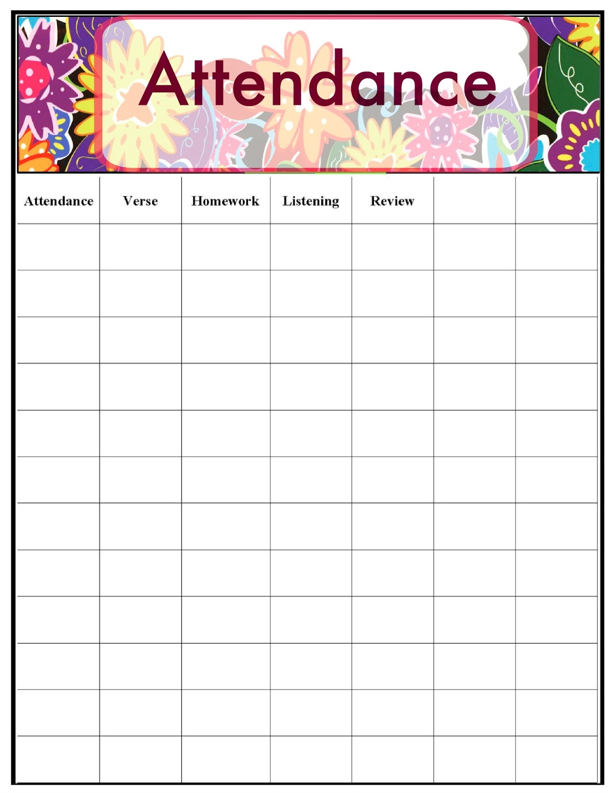 It's just an image of Impeccable Printable Attendance Chart