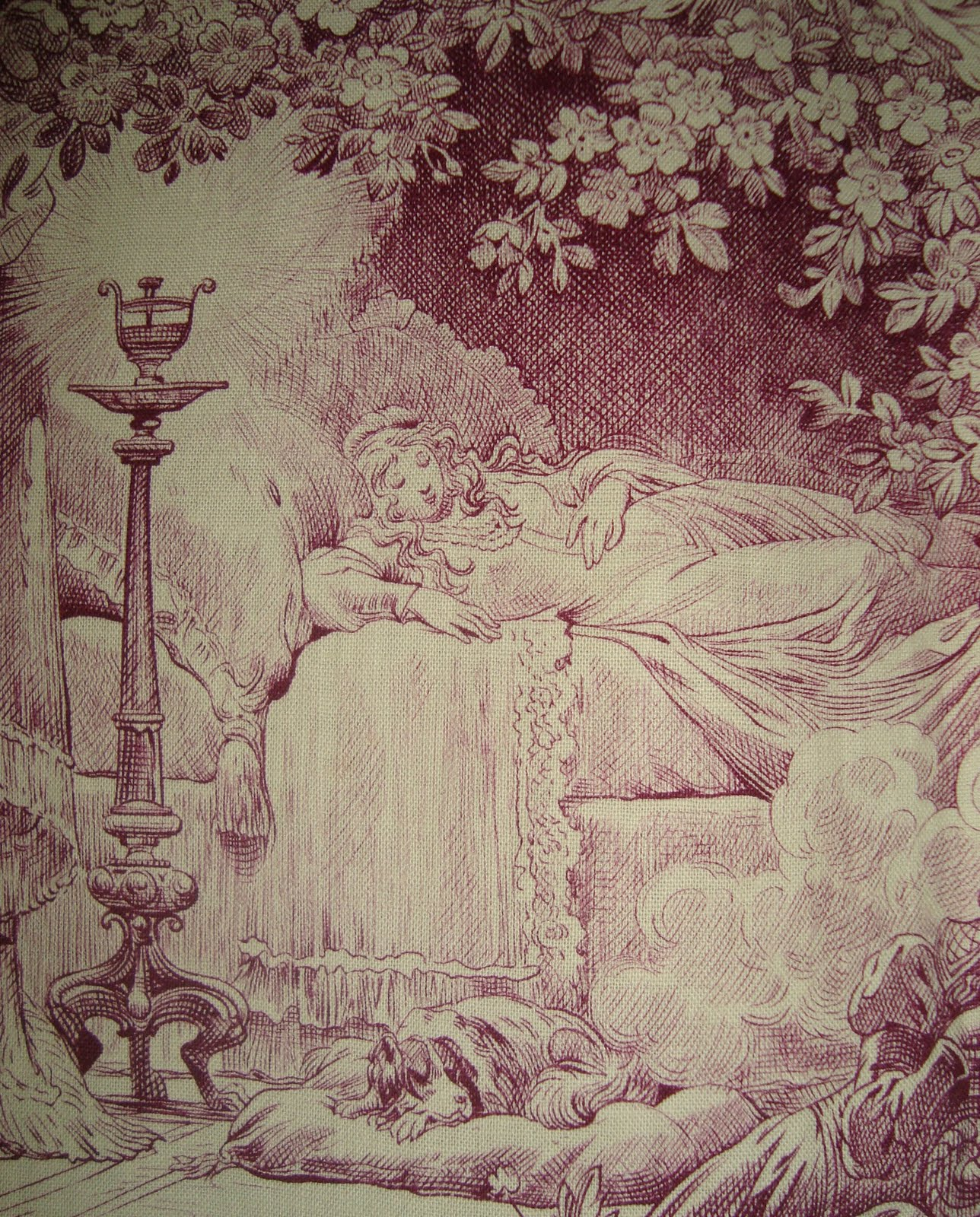 morgaine le fay antique textiles and more sleeping a toile c1920 in 2 colourways