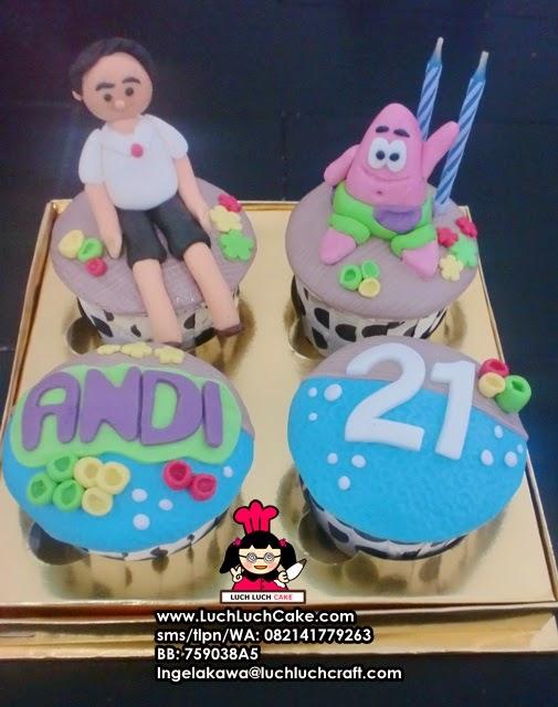 Cupcake Ulang Tahun Tema Patrick Surabaya - Sidoarjo