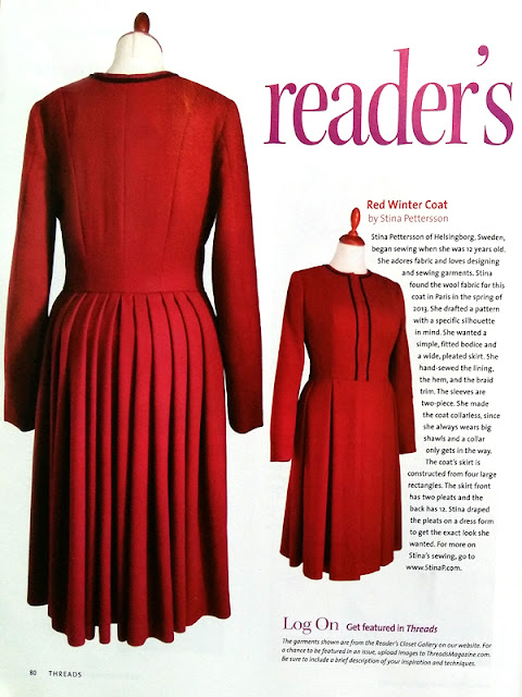 The ruby red coat in Threads | www.stinap.com