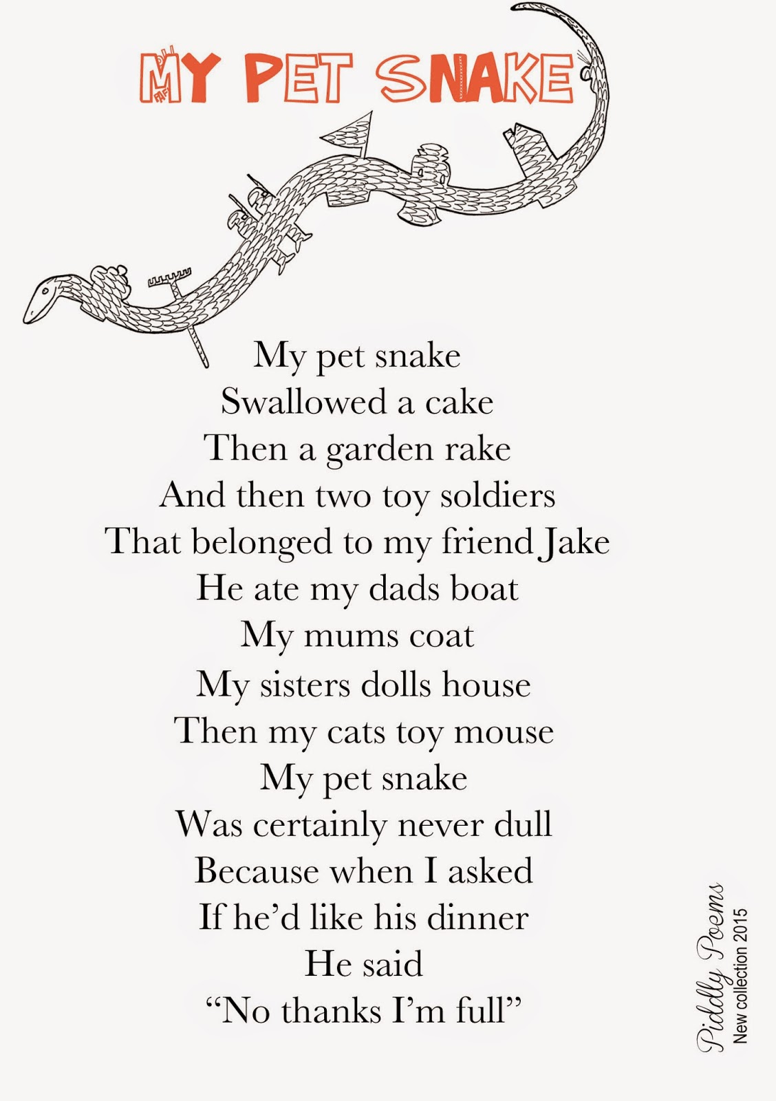 Piddly poems: My pet snake