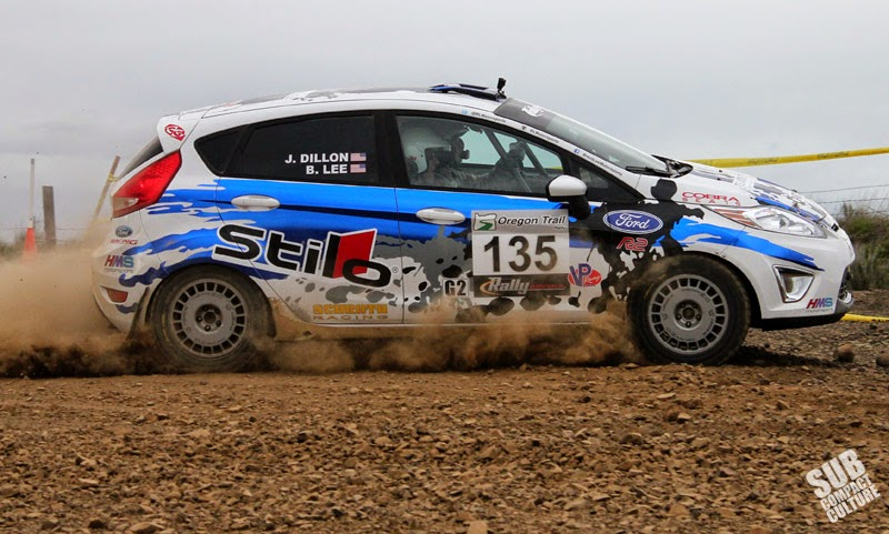 Ford Fiesta rally car rounds a corner at Oregon Trail Rally