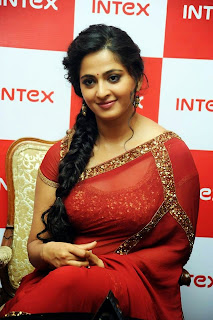 Anushka Shetty in Golden Choli and Red Transparent Jari Work Saree