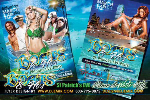 Boats & Hoes St. Patrick's EVE Green & White Yacht Party Flyer Design