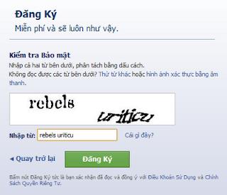 Mã bảo mật khi đăng ký facebook mới