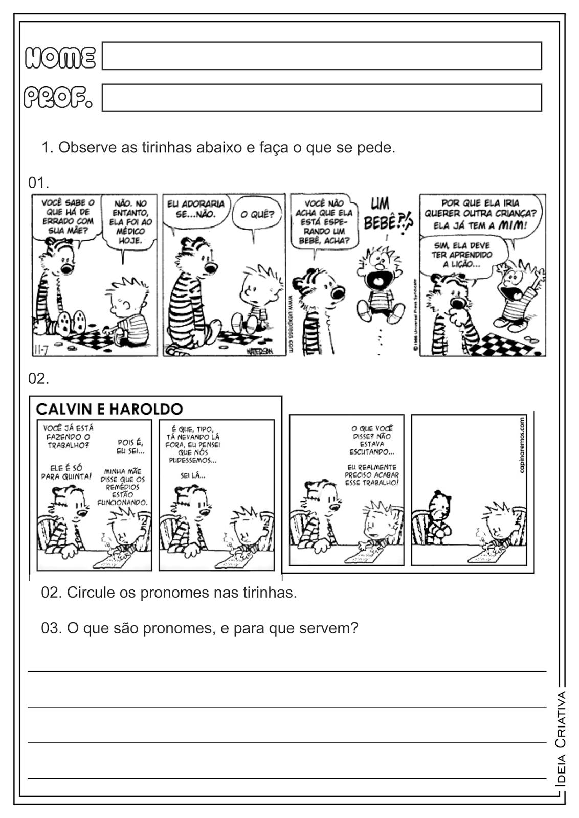 Atividades Pronomes Pessoais Classes Gramaticais para Ensino Fundamental